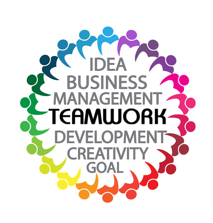 Teamwork business people concept vector icon Vector