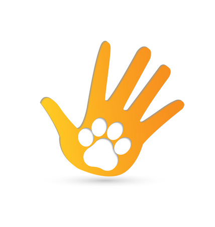 paws: Paw on hands icon vector image Illustration