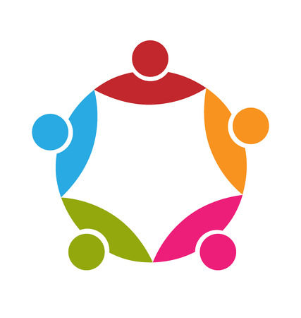 charitable: Teamwork 5 people colorful icon vector design Illustration