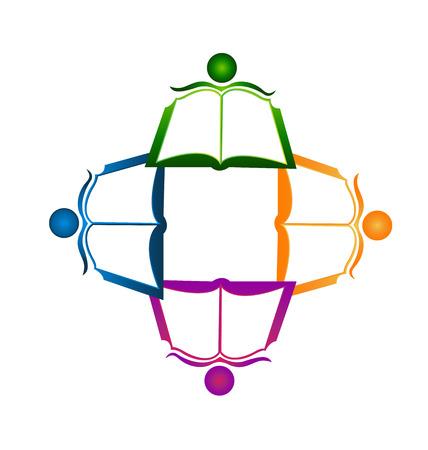 Teamwork boek identiteitskaart voor educatieve groep pictogram logo Stock Illustratie