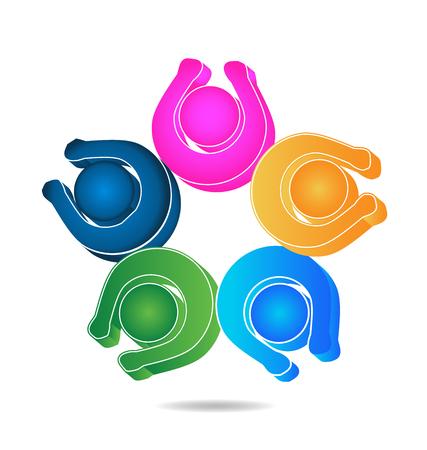 Teamwork happy people logo design template icon vector Vector