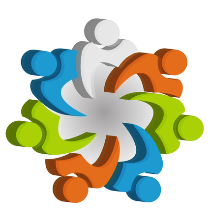 group  join: Teamwork unity people icon design template icon vector Illustration