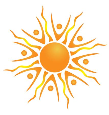 sun energy: Abstract teamwork sun icon vector Illustration