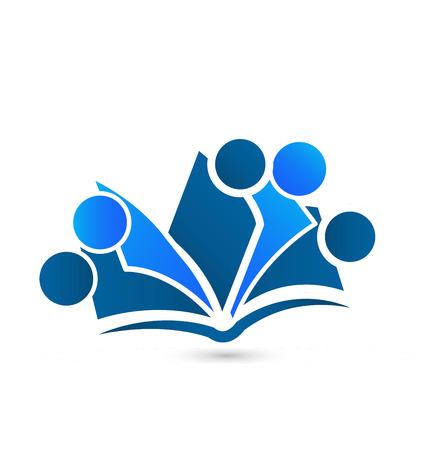 Teamwork boeken identiteitskaart voor educatieve pictogram vector logo