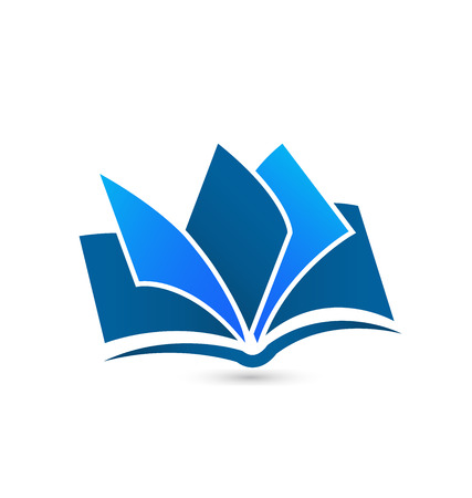 article icon: Book illustration blue  icon design vector background template
