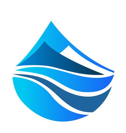 Blue mountains icon creative vector design background image logo