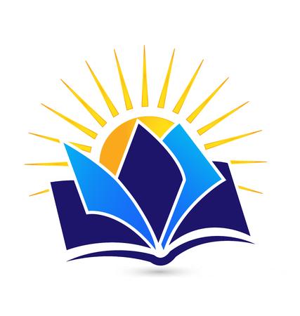 logo informatique: Livre et du soleil �ducation ic�ne logo conceptuelle