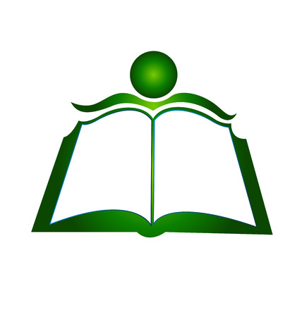 computer education: Book illustration icon design vector template logo