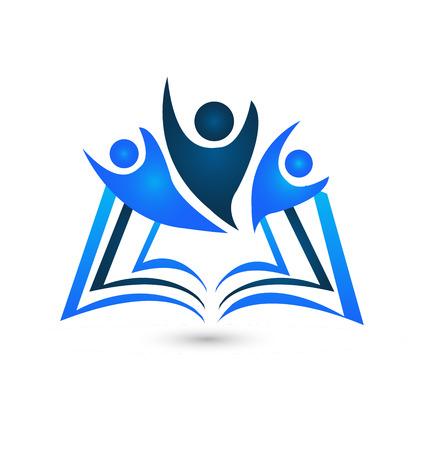 leggere libro: Lavoro di squadra libro vettore icona modello educativo logo design creativo Vettoriali