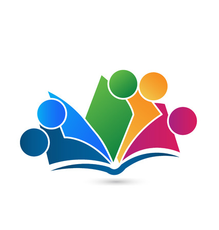 the reader: Teamwork book icon vector education concept creative  design