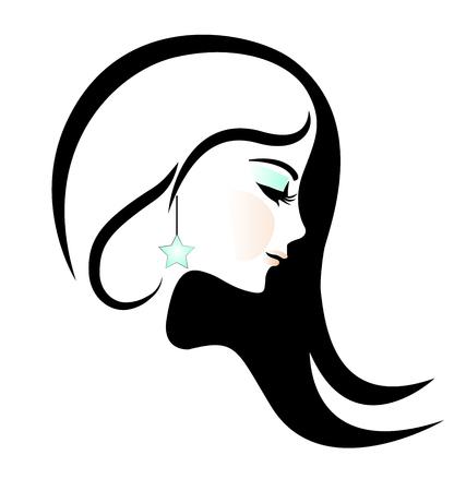Pretty woman face silhouette vector illustration 일러스트