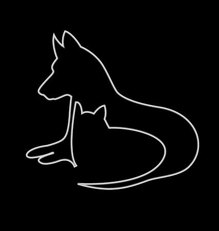 doberman: Cat and dog silhouettes design vector icon Illustration