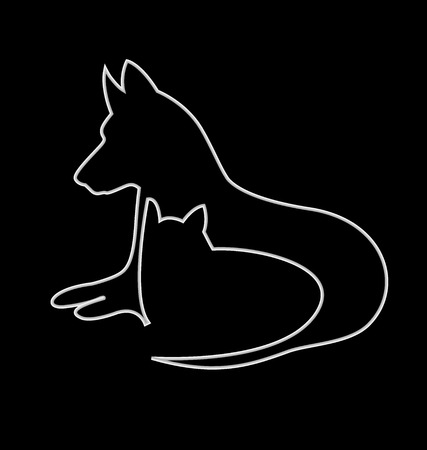 Cat and dog silhouettes design vector icon Illustration