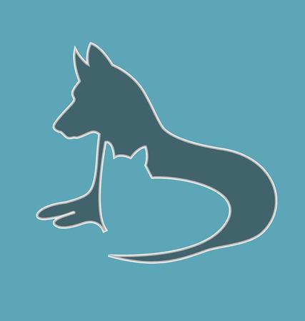 Kat en hond silhouetten vector icon achtergrond