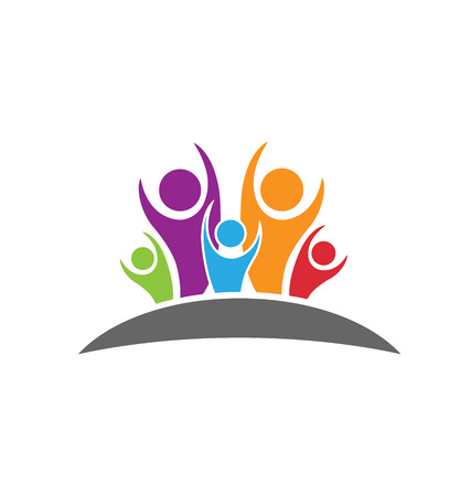 la union hace la fuerza: Concepto feliz y la gente optimista de la felicidad y el éxito logo icono Vectores