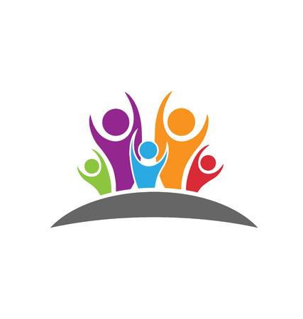 family together: Felice e persone ottimiste concetto di felicit� e successo logo icona