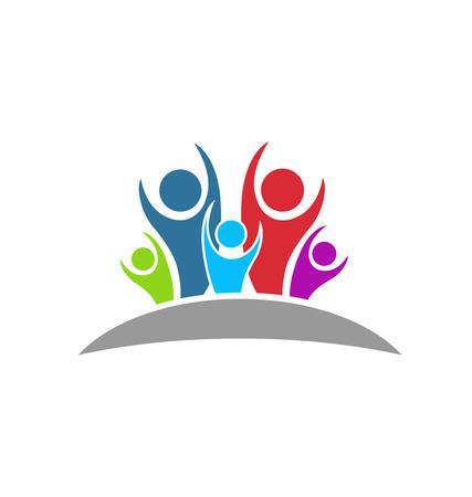 communicatie: Teamwork gelukkig en optimistisch mensen begrip van geluk en succes icoon Stock Illustratie