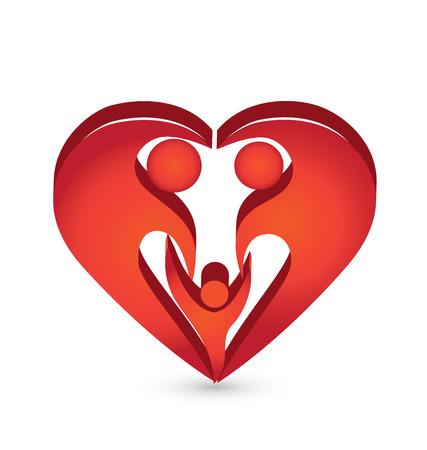 parejas enamoradas: La forma del corazón de la familia icono simbólico plantilla de vectores de fondo Vectores