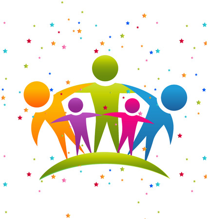 fiesta familiar: Trabajo en equipo personas que abrazan el concepto de icono de vector de la familia con confeti