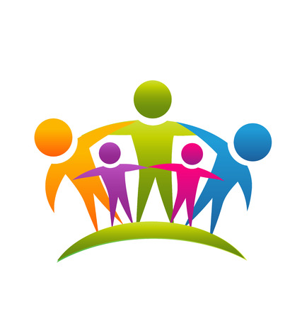 business support: Teamwork people hugging concept of family vector icon
