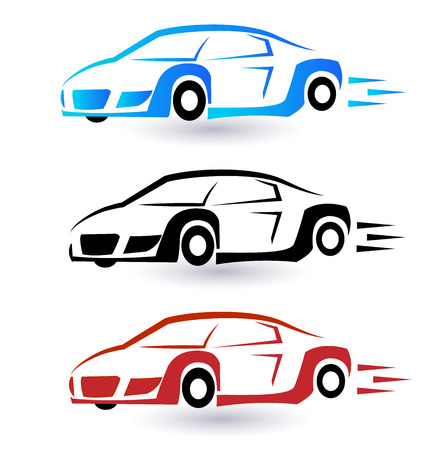 autos: Speed sporting cars set of three colors vector icon