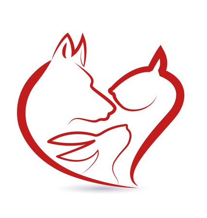 고양이 강아지와 토끼 머리는 디자인 벡터 아이콘 실루엣