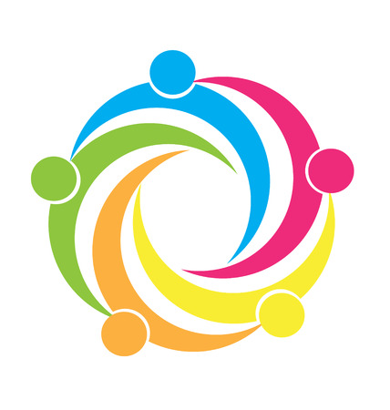 Teamwork unity people icon design template icon vector Vectores