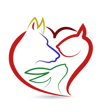 Cat dog bird and rabbit heart shape creative design vector icon Çizim