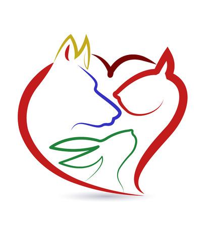Cat dog bird and rabbit heart shape creative design vector icon Vectores