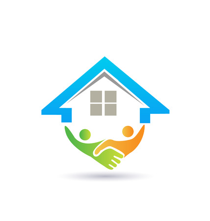 real estate sign: House and handshaking vector image concept of closing a successful  business logo