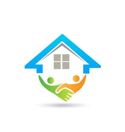 logo batiment: Maison et handshaking notion d'image de vecteur de la fermeture d'un logo d'entreprise r�ussie