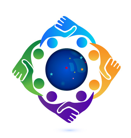 associates: Handshake people in business around the world vector icon logo Illustration