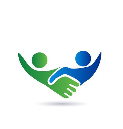 soutien: Poign�e de main des gens dans le vecteur d'affaires ic�ne