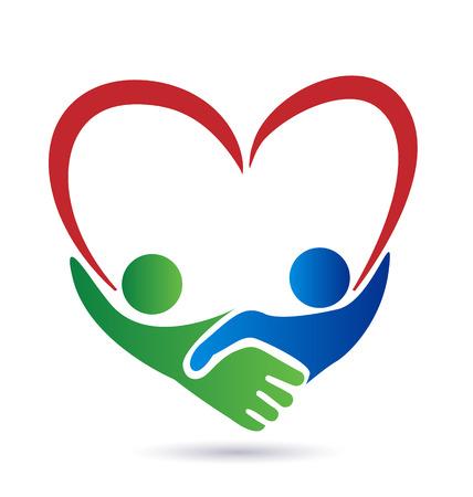 juntos: Apretón de manos con el icono del vector de concepto de la unión del corazón