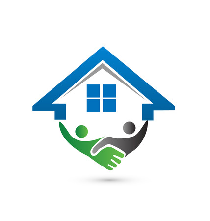 manos logo: Casa y apret�n de manos concepto de imagen vectorial de cerrar un logotipo negocio exitoso