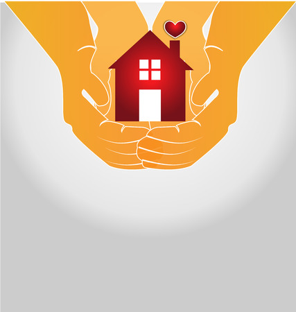 House on couple hands vector icon image Illustration