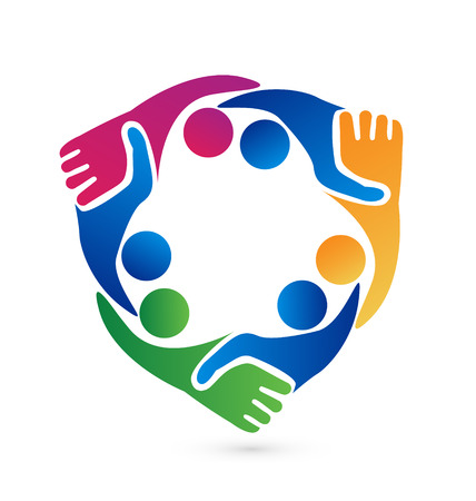 business people shaking hands: Teamwork handshake business people vector icon symbol Illustration