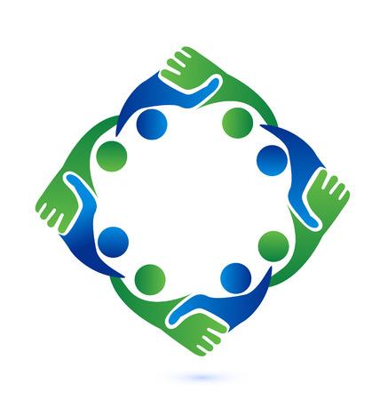 Teamwork handshake business people vector icon symbol Stock Illustratie