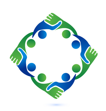 work on computer: Teamwork handshake business people vector icon symbol Illustration