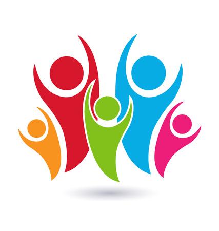 la union hace la fuerza: Familia Vector s�mbolo concepto de identidad uni�n icono de la tarjeta de fondo Vectores