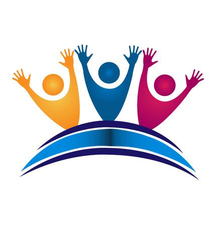 colegios: Trabajo en equipo feliz estudiantes con carn� de identidad libro por grupo educativo ic�nico logo Vectores