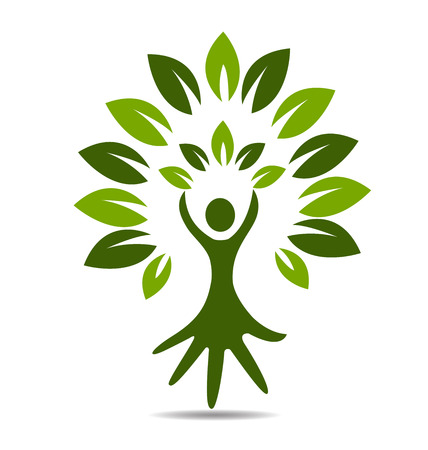 rich in vitamins: Tree people hand symbol icon vector design