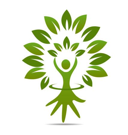manos logo: Dise�o gr�fico del icono del s�mbolo vector de la mano �rbol Vectores