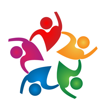 fitness: Personas Trabajo en equipo de forma de corazón plantilla de diseño de iconos vectoriales