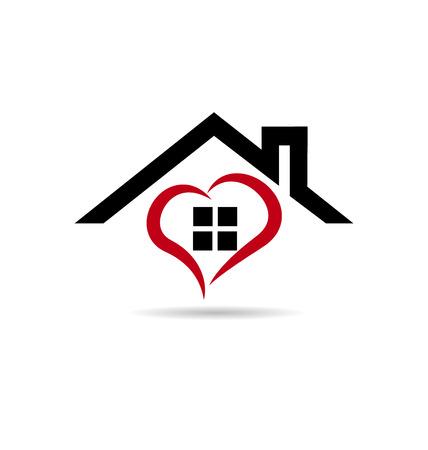 pareja en casa: Casa y estilizado diseño de iconos del vector del corazón