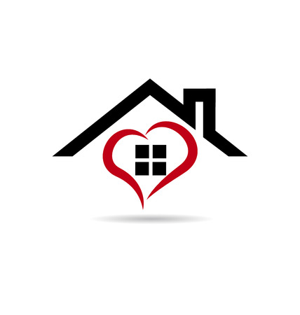 home icon: House and stylized heart  vector icon design