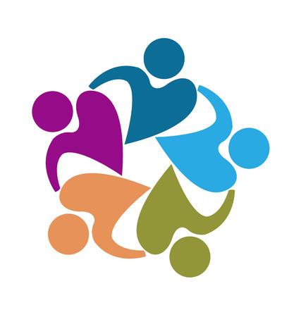 girotondo bambini: Lavoro di squadra di persone a forma di cuore modello icona del disegno vettoriale Vettoriali
