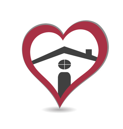 House and heart  vector icon creative stylized  Vector