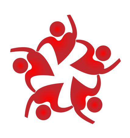 zeměkoule: Týmová práce lidé tvar srdce výprava ikonu vektorové šablony Ilustrace