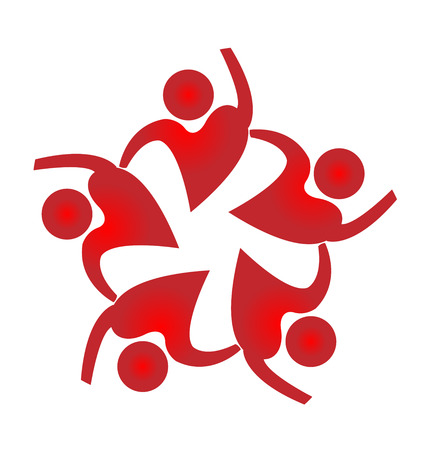 circle flower: Teamwork people heart shape design icon vector template
